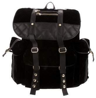 Balmain Leather-Trimmed Velvet Backpack