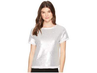 Three Dots Sequins Boxy Crop Top Women's T Shirt