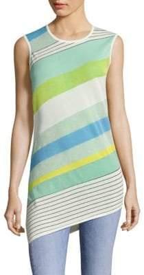 Diane von Furstenberg Asymmetrical Striped Shell