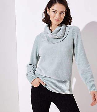 LOFT Petite Chenille Cowl Neck Sweater