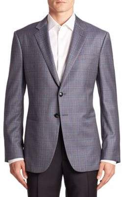 Armani Collezioni Taylor-Fit Virgin Wool Plaid Blazer
