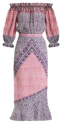 Saloni Grace Paisley Print Silk Crepe De Chine Dress - Womens - Pink Multi