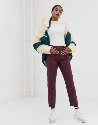Asos DESIGN Ritson mom jeans with waist seam detail in oxblood stripe