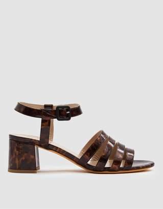 Maryam Nassir Zaydeh Palma Low Patent Sandal in True Tortoise