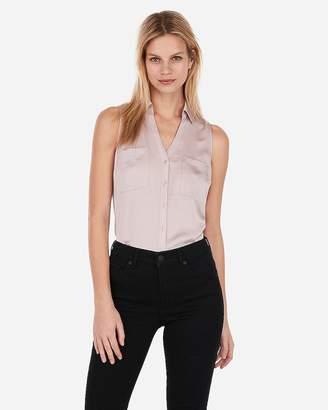 Express Slim Sleeveless Satin Portofino Shirt 4f9244427