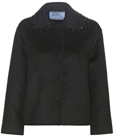 prada Prada Embellished Wool-blend Coat