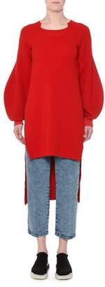Stella McCartney High-Low Balloon-Sleeve Ribbed Wool Tunic Sweater