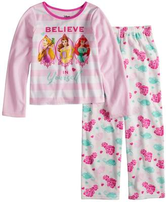 Disney Princess Rapunzel, Belle & Ariel Girls 4-10 Fleece Top & Bottoms Pajama Set