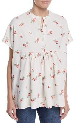 Co Cap-Sleeve Floral-Embroidered Tunic Blouse