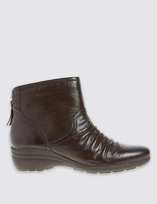 Marks and Spencer Leather Wedge Tassle Ruched Ankle Boots
