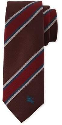 Burberry Oxblood Slim-Cut Striped Silk Tie