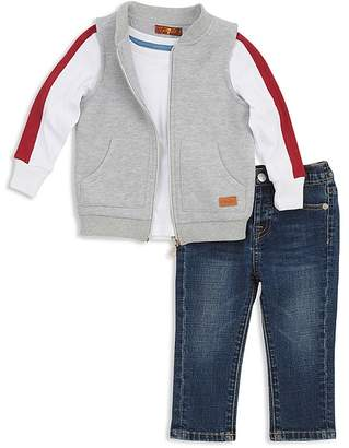 7 For All Mankind Boys' Quilted Vest, Striped Tee & Skinny Jeans Set - Baby