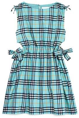 Burberry Girls' Bow Detail Check Cotton Dress - Little Kid, Big Kid