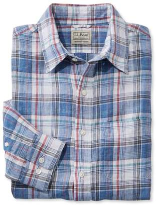 L.L. Bean Men's L.L.Bean Linen Shirt, Slightly Fitted Long-Sleeve Plaid