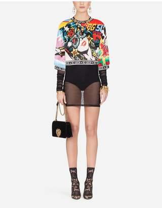 Dolce & Gabbana Short Blouse With Super Heroine Print