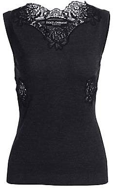Dolce & Gabbana Dolce& Gabbana Dolce& Gabbana Women's Lace Trim Sleeveless Knit Tank