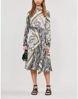Ted Baker Snake-print satin-twill midi dress