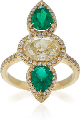 Anita Ko One-Of-A-Kind Emerald & Yellow Diamond Ring
