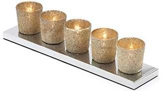 Bally Illuminate Mono 5 Tea Light Bar With Glittery Effect Shades On Chrome Base Plate, Gold
