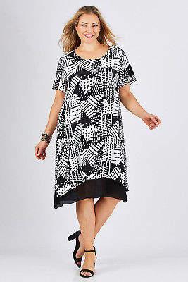 NEW Gordon Smith Womens Knee Length Dresses Patterned Dress BlackWhite