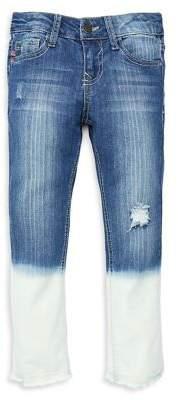Vigoss Girl's Skinny Ankle Dip-Dye Jeans