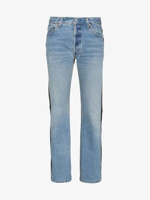 Vetements Denim and leather contrasting jeans