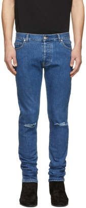 Balmain Blue Embroidered Slim-Fit Jeans