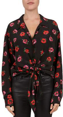 The Kooples Floral Tie-Front Silk Blouse