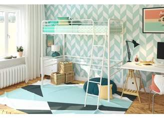 DHP Metal Twin Loft Bed in Sturdy Metal, Stylish Space Saving Solution, Includes Metal Slats and Built-in Ladder, White