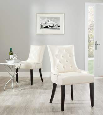 Safavieh Mercer Collection Heather Leather Nailhead Dining Chair, Set of 2