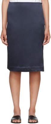 6397 Navy Silk Side Slit Skirt