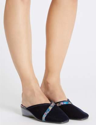 Marks and Spencer Floral Braid Wedge Heel Mule Slippers