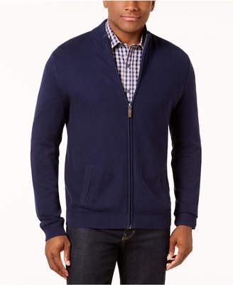 Club Room Men's Honeycomb Full-Zip Pima Cotton Sweater, Created for Macy's