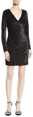 Aidan Mattox Metallic Knit Long-Sleeve Dress