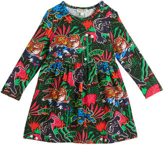 Kenzo Jungle-Print Long-Sleeve Velour Dress, Size 2-3