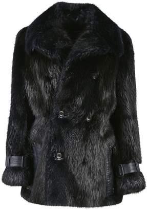 Versace Navy Beaver Coats