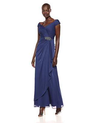 Alex Evenings Women's Long A-line Off The Shoulder Dress with Ruching