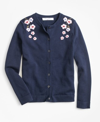 Brooks Brothers Cotton Floral Cardigan