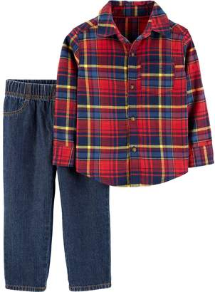 Carter's Baby Boy Plaid Button Down Shirt & Jeans Set