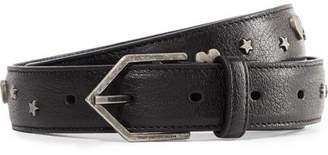 Saint Laurent Studded Leather Belt - Black