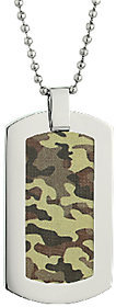 Steel by Design Stainless Steel Dog Tag Pendant with CamouflageDesign
