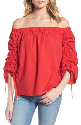 Women's Soprano Cinched Sleeve Off The Shoulder Top $45 thestylecure.com