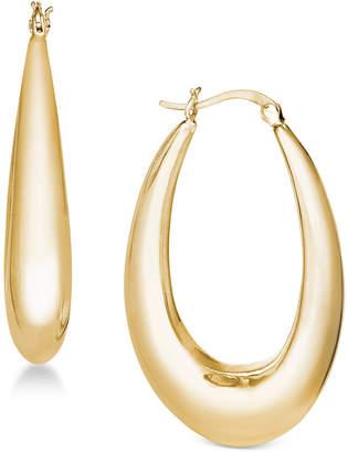 Essentials Silver Plated Medium Polished Graduated Puff Hoop Earrings