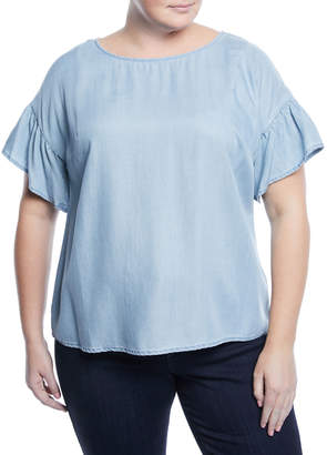 Vince Camuto Plus Ruffle-Sleeve Chambray Blouse, Plus Size