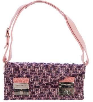 Ungaro Alligator-Trimmed Bouclé Shoulder Bag
