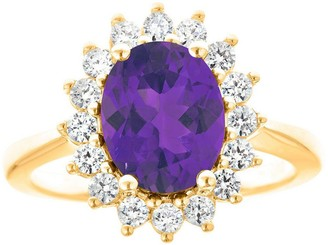 Premier 2.00cttw Oval Amethyst & 1/2cttw Diamond Ring, 14K