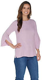 Halston H by Boatneck 3/4 Sleeve Pullover withSleeve Detail