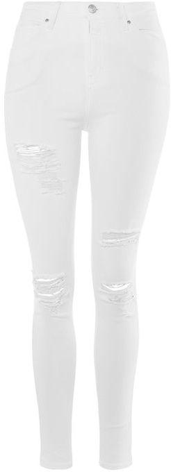 TopshopTopshop Moto white super rip jamie jeans