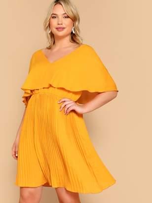 Shein Plus Ruffle Detail V-neck Solid Dress