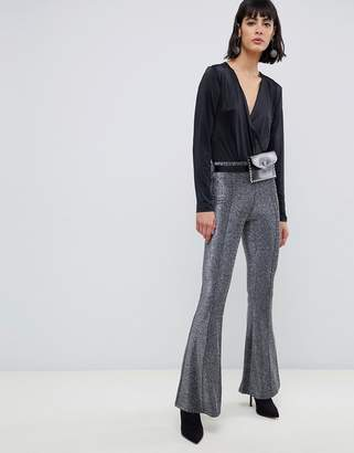 Pieces Wide Leg Glitter Pants